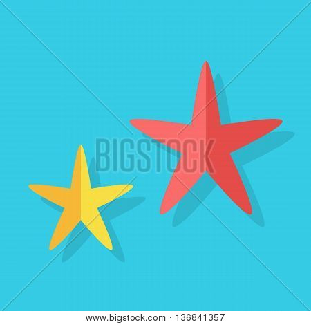 Two multi-colored cheerful cute starfishes on a blue background. Red and yellow cartoon starfishes in flat style. Vector illustration