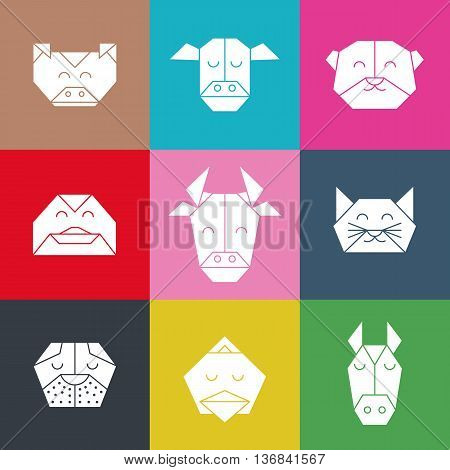 Pattern with polygonal animal heads. Animals triangle background. Animal low poly pattern. Vector origami animal pattern. Polygon farm animal pattern.