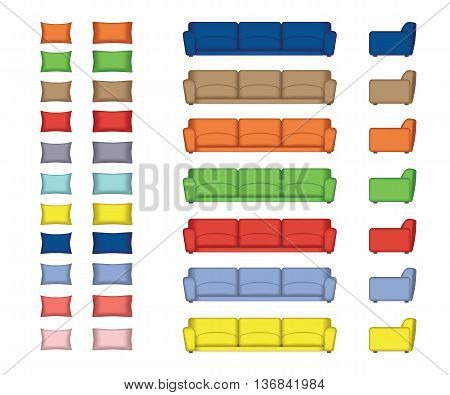 Sofas Armchair Pillows Set. Front, Side view. Furniture for your Interior Design. Rose Quartz, Peach Echo, Serenity, Snorkel Blue, Buttercup, Limpet shell, Lilac Grey, Fiesta, Iced Coffee Green Flash
