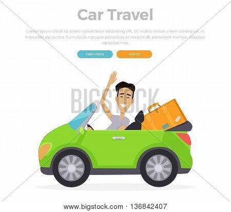 Car travel concept vector illustration. Flat design. Smiling driver on cabriolet travelling with stuff. Road travelling concept web banner. Road trip adventure.