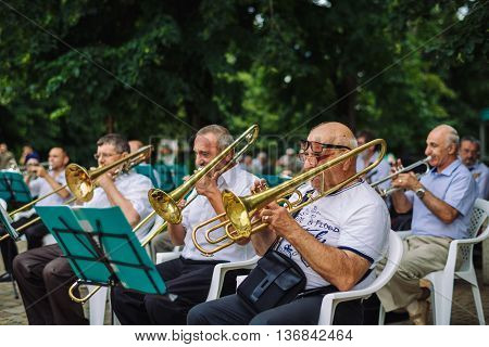 ARMAVIR, RUSSIA - JULE 02, 2016: Men play musical instruments in the orchestra in the park on a summer day