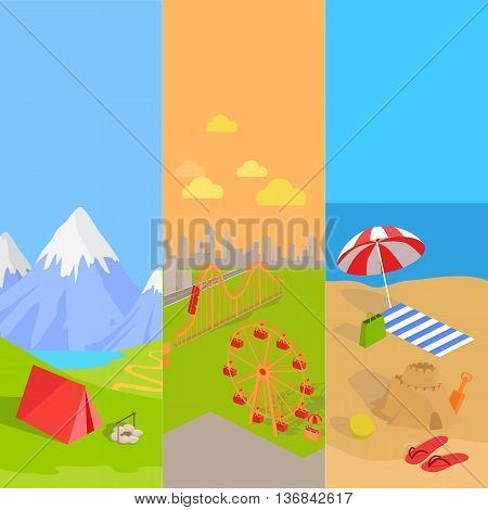 Holiday amusement park spend vacation. Relax on beach, mountain tourism and walk in park attractions. Vector illustration