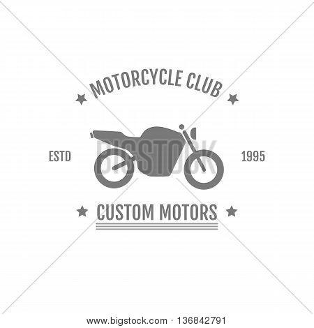 Vintage motorcycle club logo illustration. Moto label badge vector grey icon. Bike club logos vector design element and template.