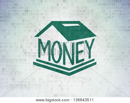 Currency concept: Painted green Money Box icon on Digital Data Paper background with  Tag Cloud