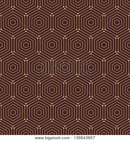 Geometric fine abstract vector hexagonal background. Seamless modern pattern. Brown and golden pattern