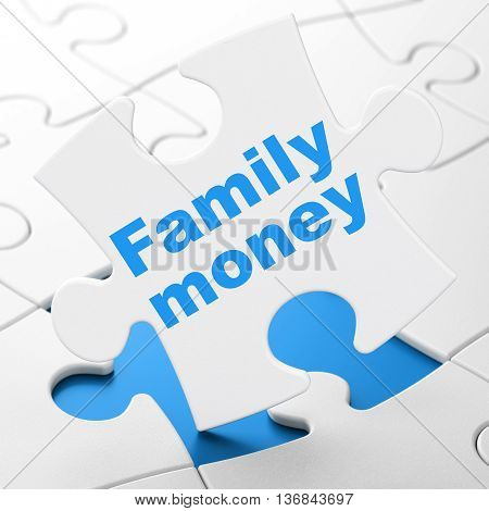 Currency concept: Family Money on White puzzle pieces background, 3D rendering