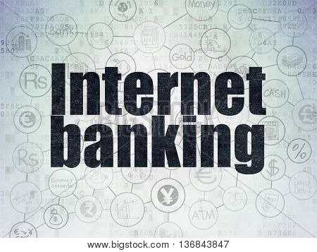 Money concept: Painted black text Internet Banking on Digital Data Paper background with  Scheme Of Hand Drawn Finance Icons