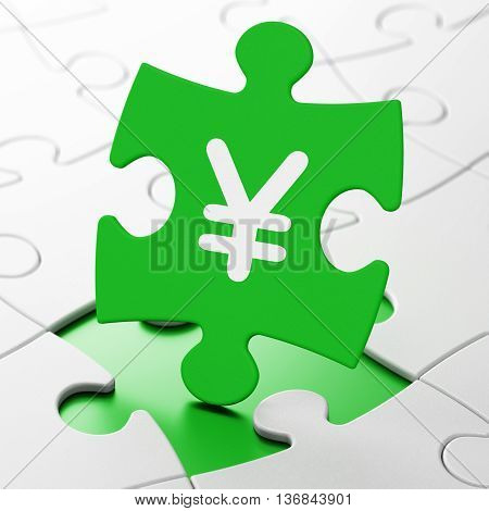 Money concept: Yen on Green puzzle pieces background, 3D rendering