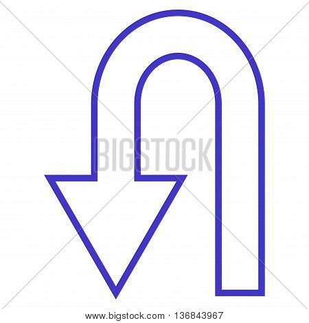 Return Arrow vector icon. Style is stroke icon symbol, violet color, white background.