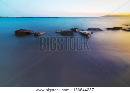 long exposure in Alghero shoreline in Sardinia