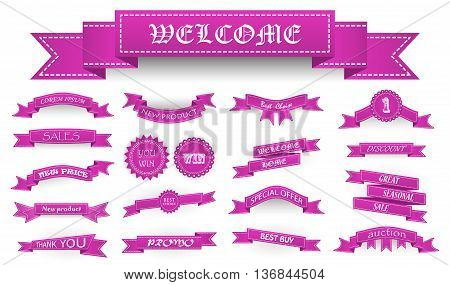 Embroidered Pink Vintage Ribbons And Stumps With Business Text And Shadows Isolated On White. Can Be