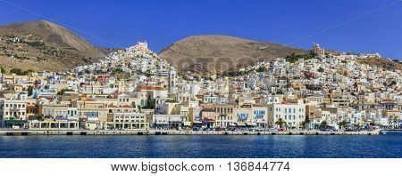 beautiful islands of Greece - Syros, view of Ermoupoli city. Cyclades
