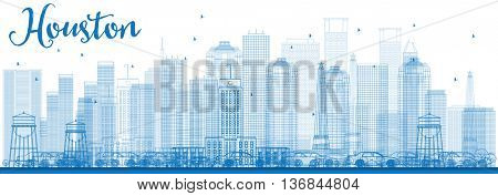Outline Houston Skyline with Blue Buildings. Business Travel and Tourism Concept with Modern Buildings. Image for Presentation Banner Placard and Web Site.