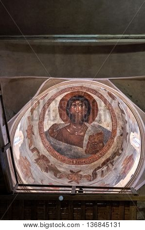 VELIKY NOVGOROD RUSSIA-JULY 1 2016. Christ Pantocrator - fresco painting by Theophanes the Greek Byzantine Greek artist and famous icon painter. Dome of Savior Church on Ilyin street