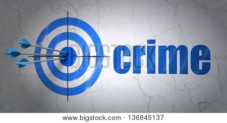 Success privacy concept: arrows hitting the center of target, Blue Crime on wall background, 3D rendering