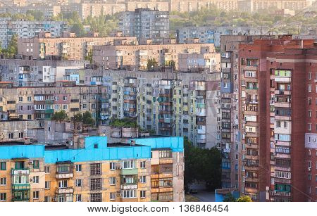 Old buildings in Ukraine. Crowded old housing