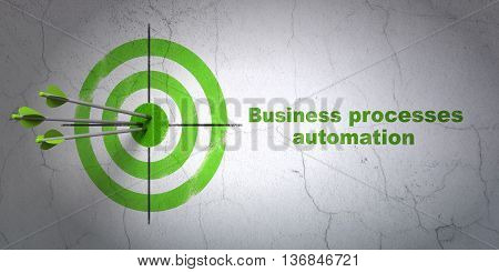 Success business concept: arrows hitting the center of target, Green Business Processes Automation on wall background, 3D rendering