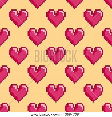 Seamless vector pattern with pixel hearts. St. Valentine's Day or wedding background 8-bit retro design. Already in swatches.