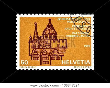 SWITZERLAND - CIRCA 1975 : Cancelled postage stamp printed by Switzerland, that shows Castle.