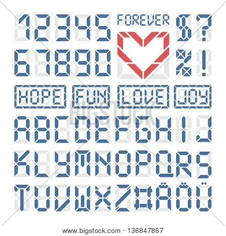 Digital font latin letters and numbers. Blue latin alphabet on white. Red heart and some sample words.