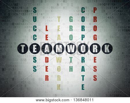 Business concept: Painted black word Teamwork in solving Crossword Puzzle on Digital Data Paper background