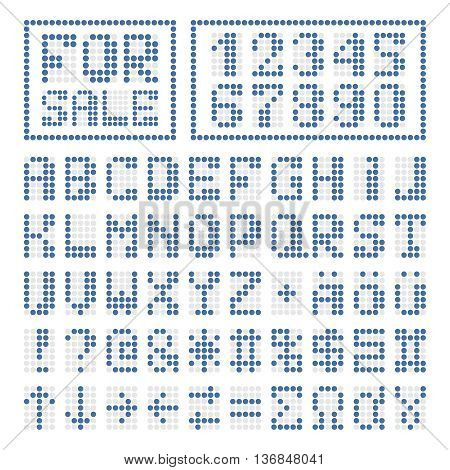 Dotted digital font. Blue alphabet letters and numbers on white. Some special characters signs and borders.