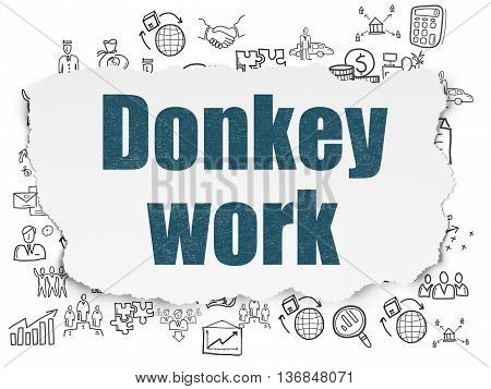 Business concept: Painted blue text Donkey Work on Torn Paper background with  Hand Drawn Business Icons