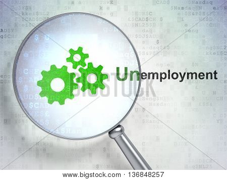 Business concept: magnifying optical glass with Gears icon and Unemployment word on digital background, 3D rendering