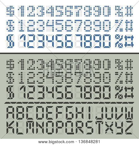 Extended digital font characters. Three number sets in two styles for time display. Latin alphabet included.