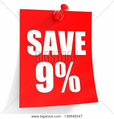 Discount 9 Percent Off. 3D Illustration On White Background.