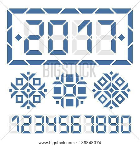 2017 happy new year digital card. Replace digit to get another new year message. Three digital snowflakes for decoration.