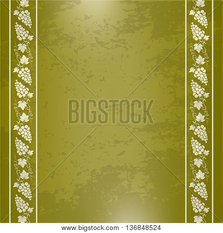 Decorative border with bunches of grape, grape leaves, swirls. Grunge background.