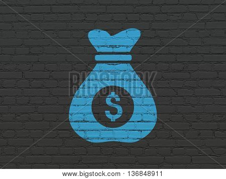 Finance concept: Painted blue Money Bag icon on Black Brick wall background