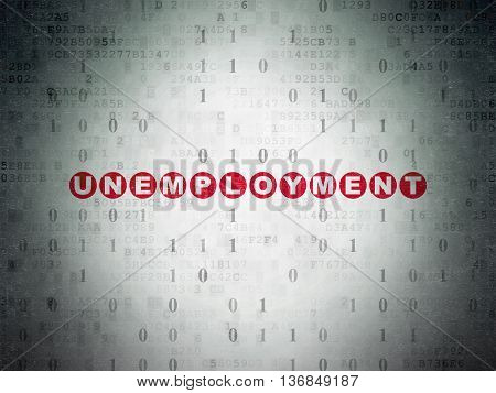 Business concept: Painted red text Unemployment on Digital Data Paper background with Binary Code