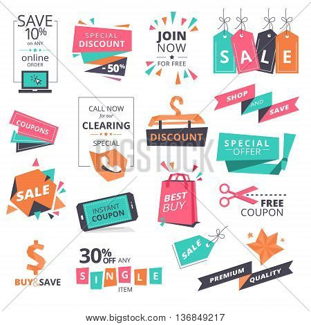 Set of flat design style badges and coupons for shopping. Vector illustrations for website and mobile website, product promotion, sale banner template, ads, print material.