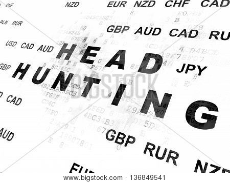 Business concept: Pixelated black text Head Hunting on Digital wall background with Currency