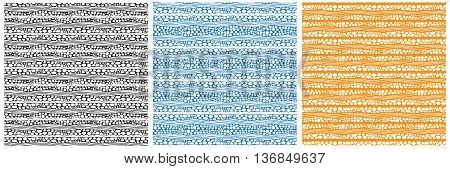 River stones. Set of monochrome seamless patterns. Swatches are included in the file.