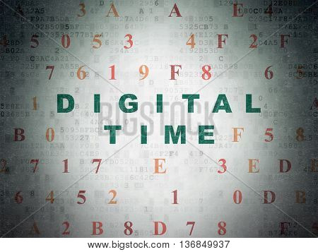 Time concept: Painted green text Digital Time on Digital Data Paper background with Hexadecimal Code