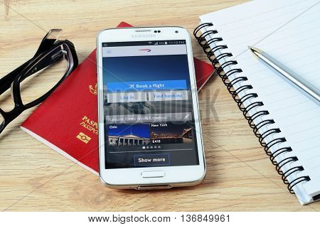 KOTA KINABALU MALAYSIA - JULY 1 2016: The British Airways on mobile app the app helps managing travel plans make bookings check-in and choose seat anytime anywhere.