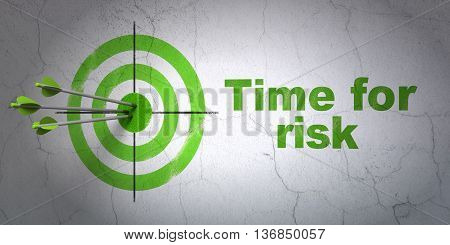 Success time concept: arrows hitting the center of target, Green Time For Risk on wall background, 3D rendering