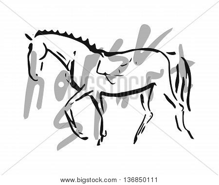 The symbolic figure of the horse. The image of a horse from lines on a white background. Abstract image - a symbol of equestrian sport (dressage). Vector illustration