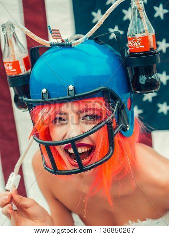 Independence Day Woman With Flag And Drink Helmet
