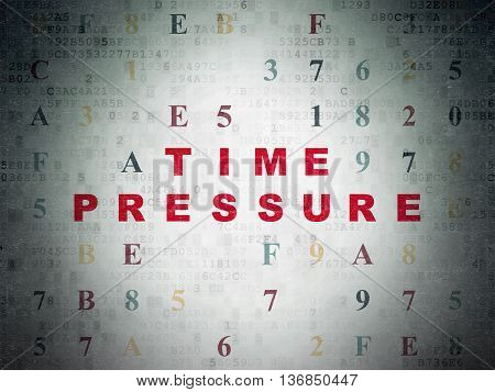 Time concept: Painted red text Time Pressure on Digital Data Paper background with Hexadecimal Code