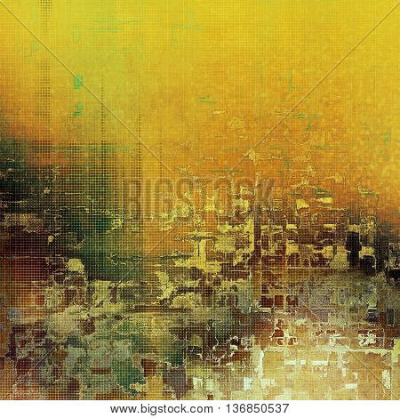 Grunge design composition over ancient vintage texture. Creative background with different color patterns: yellow (beige); brown; gray; green; red (orange)