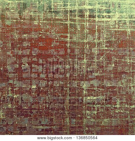 Background with dirty grunge texture, vintage style elements and different color patterns: brown; gray; green; red (orange); purple (violet); pink