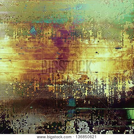 Art grunge texture for creative design or scrap-book. With vintage style decor and different color patterns: yellow (beige); brown; black; blue; green; purple (violet)