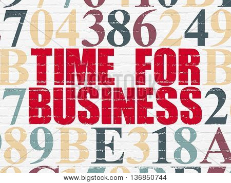 Timeline concept: Painted red text Time for Business on White Brick wall background with Hexadecimal Code