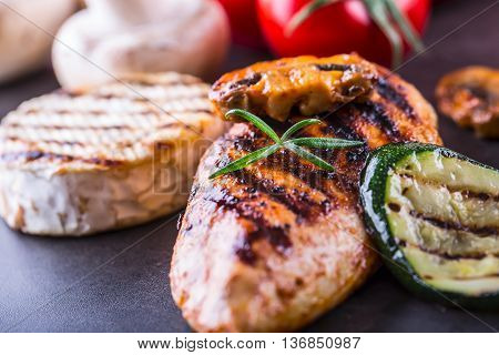 Grilled Chicken breast Brie Camembert Cheese Zucchini Pepper Chili and Mushrooms.
