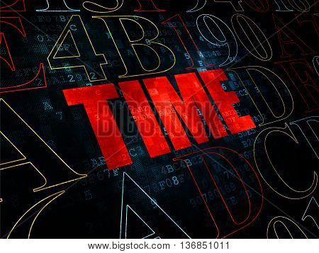 Timeline concept: Pixelated red text Time on Digital wall background with Hexadecimal Code