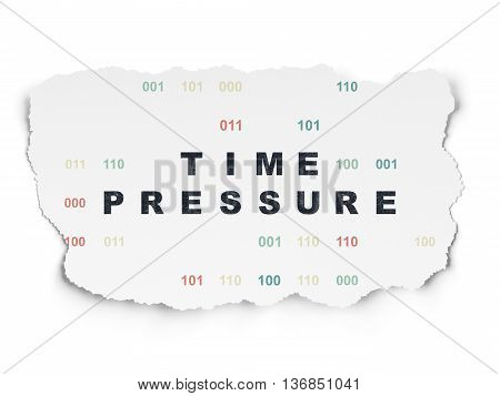 Timeline concept: Painted black text Time Pressure on Torn Paper background with  Binary Code